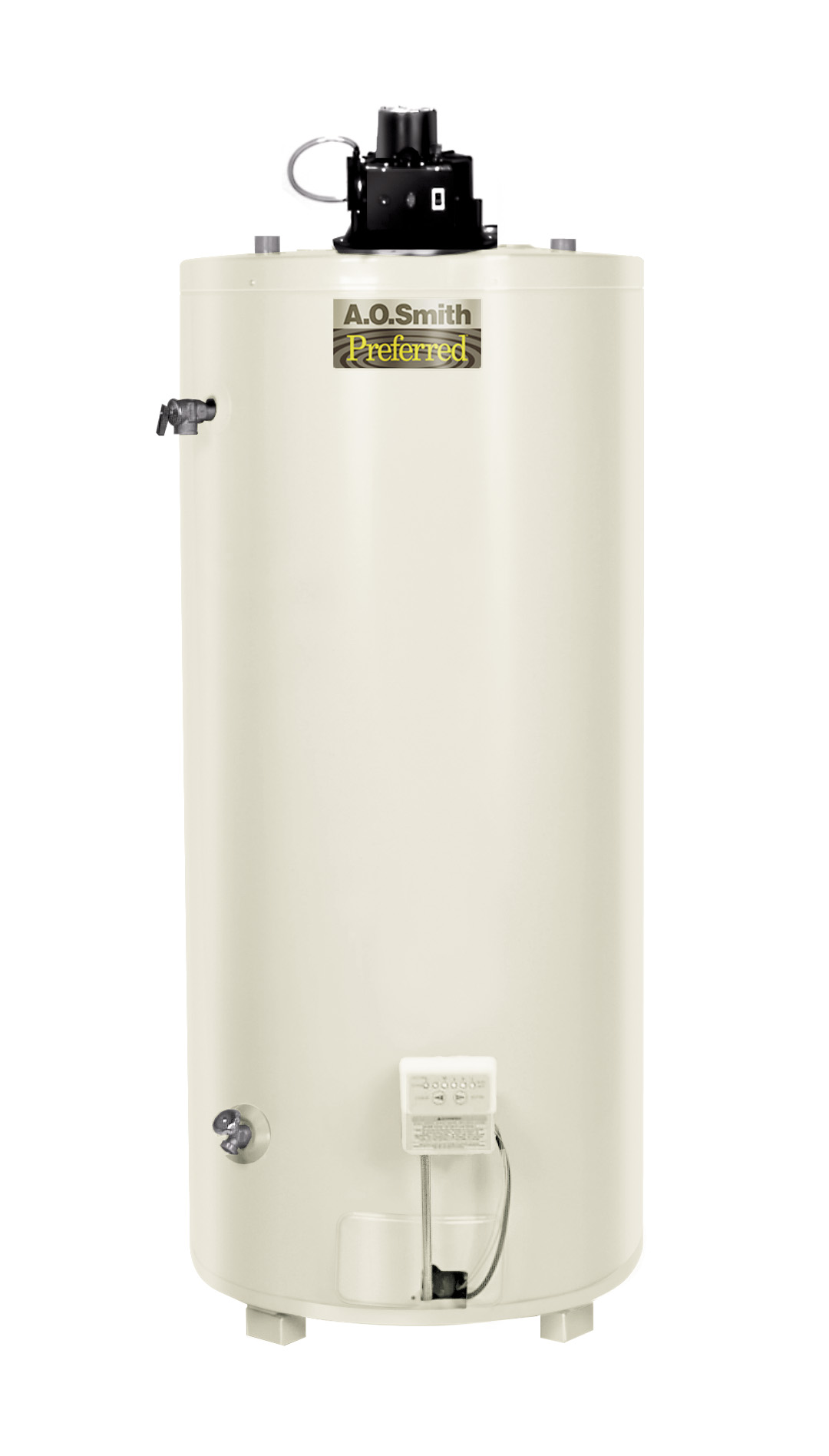 "AO SMITH BTF-80: 74-GALLON, 76,500 BTU, 4"" VENT, POWER VENT SINGLE FLUE, NATURAL GAS WATER HEATER, CONSERVATIONIST"