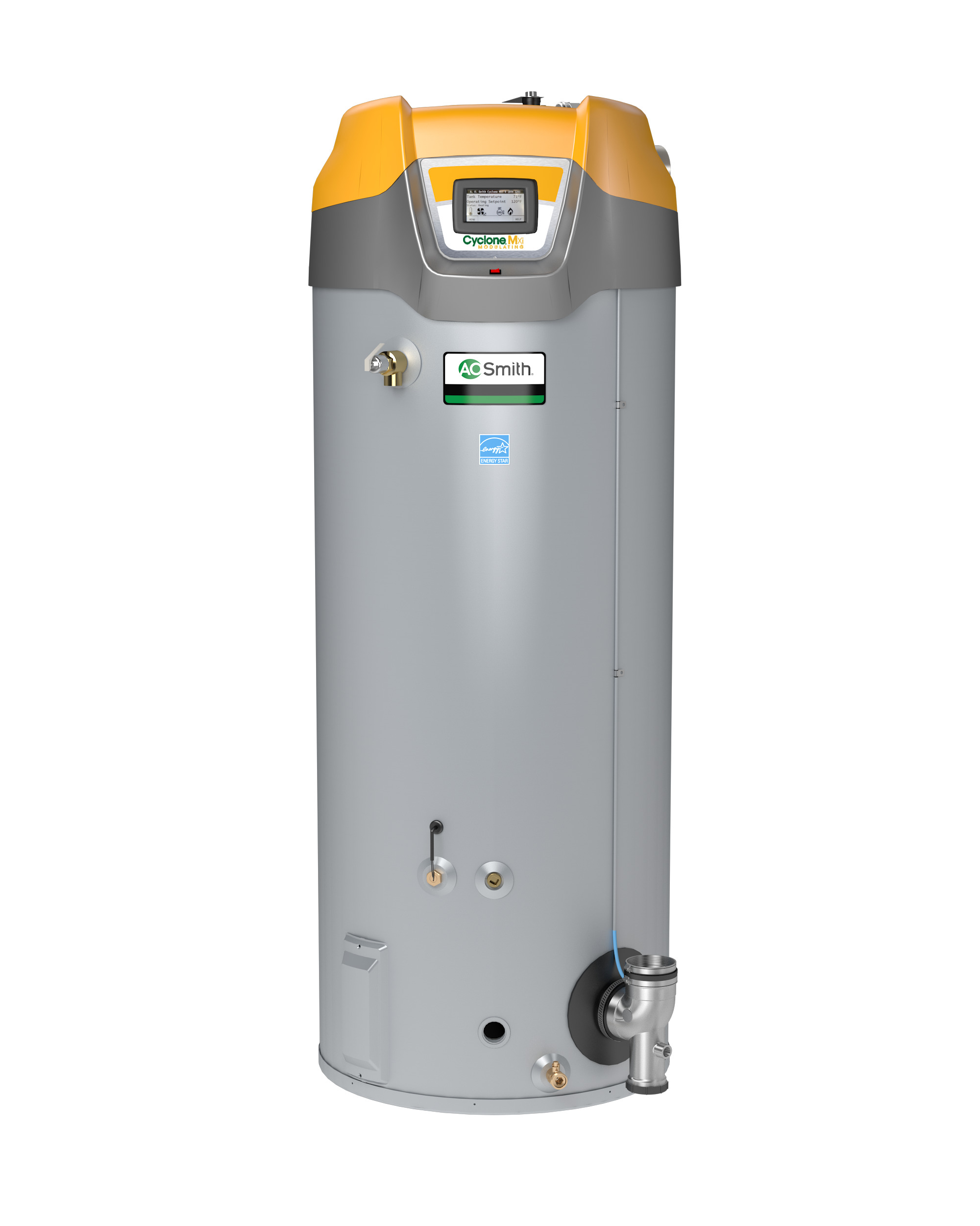 "AO SMITH BTH-300A-LP: 119 GALLON, 300,000-BTU, UP TO 96% THERMAL EFFICIENCY, ASME, 4"" VENT, LP (LIQUID PROPANE) CYCLONE Mxi MODULATING COMMERCIAL GAS WATER HEATER"