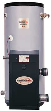 "RHEEM HE80-130: 80-GALLON, 130,000 BTU, NATURAL GAS, HIGH EFFICIENCY,  DIRECT-VENT SEALED-COMBUSTION WATER HEATER (CONFIGURED FOR 3.5"" TO 14"" WATER COLUMN INCOMING GAS PRESSURE)"